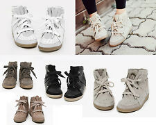 Womens Genuine Leather Lace Up Hightop Hidden Wedge Sneakers Black,White,Khaki
