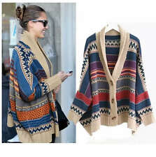 VKC31228 CelebStyle Aztec Shawl Tribal Print Chunky Wool Cardigan