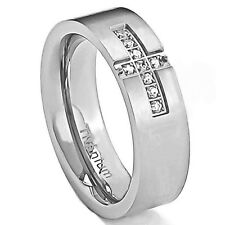 6mm Titanium Ring Clear Round Cubic Zirconia Men's Silver Wedding Band