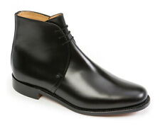 SANDERS BRITISH ARMY OFFICERS LEATHER GEORGE BOOTS, BLACK, UK-MADE [04079]