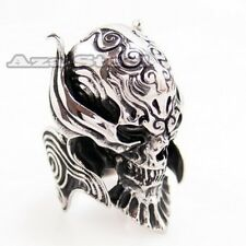 Men's Silver Devil Skull Demon Biker Stainless Steel Ring Size 9, 10, 11, 12, 13