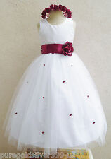 WHITE APPLE RED WEDDING PARTY FLOWER GIRL DRESS 6M 12M 18M 24M 2 4 6 8 10 12 14