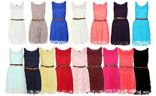 LADIES BELTED LACE SHIFT WOMENS SKATER SLEEVELESS DRESS TOP SIZE 8-14