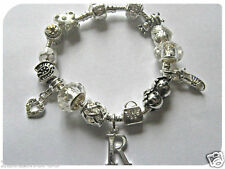 CHILDRENS GIRLS LADIES INITIAL LETTER CLEAR SILVER CHARM BRACELET 15 CHARMS