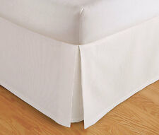 "TAILORED BED SKIRT, PLEATED DUST RUFFLE, 14"" DROP, BEIGE WHITE, TWIN QUEEN KING"