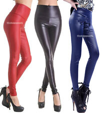 Sexy Lady High Waist Stretchy faux Leather Wet Look Treggings Leggings Pants