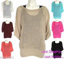 WOMENS LADIES KNITTED JUMPER BATWING 3/4 SLEEVE SEE THROUGH PONCHO BAGGY TOP