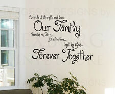 Wall Decal Sticker Quote Vinyl Circle of Strength and Love Forever Family IN53