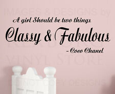 Wall Decal Quote Sticker Vinyl Art Lettering Classy and Fabulous Coco Chanel B30