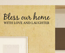 Wall Sticker Decal Quote Vinyl Art Graphic Bless Our Home Love and Laughter H06