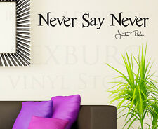 Wall Decal Sticker Quote Vinyl Art Lettering Never Say Never Justin Bieber B82