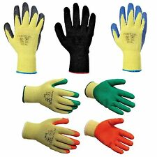 12 PAIRS OF LATEX RUBBER WORK GLOVES PORTWEST A150 BUILDER GARDENING SAFETY GRIP
