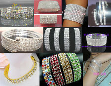 1-12Rows Stretchy Stylish Crystal Rhinestone Bracelets and More Styles New Lots