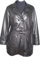 Petite & All Size 5006 Classic Leather Trench Coats Womens Business Clothing Sof