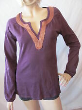 New LUCKY BRAND Womens Purple L/S Embroidered Goldie Tunic Shirt Knit Top $69