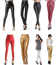 Sexy Faux Wet Look High Waist/Waisted Stretchy  Leather Tight Leggings/Pants S-X