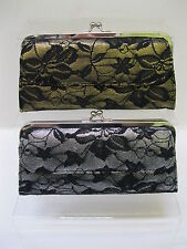 LADIES LACE DETAIL PURSE, AVAILABLE IN GOLD OR SILVER