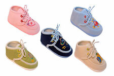 NEWBORN BABY BOYS & GIRLS SLIPPERS BOOTIES PRAM SHOES AGE 0-12 MONTHS- CUTE !