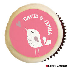 ★ 24 Personalised Edible Cup Cake Toppers | Wedding Bird Engagement | Names