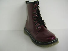 SALE Girls spot-on Dark red patent lace-up boots H5011