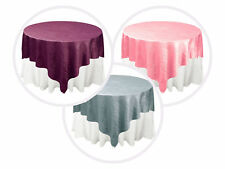 "72x72"" Taffeta Crinkle Overlays Wedding Table Top Decorations for Reception"