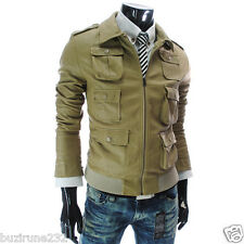 (JK) TheLees Mans Casual Slim Fit Multi Pocket Synthetic Leather Solid Jacket