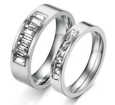 Newest Shining Crystal Titanium Steel Lovers Couple Ring Wedding Bands Gift J117