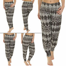 New Womens Casual Ali Baba Aztec Print Harem Trousers Pants Size 8 12 14 16 20