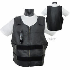 Mens Bullet Proof Replica Style Genuine Leather Motorcycle Vest Waist Coat~XS-5X