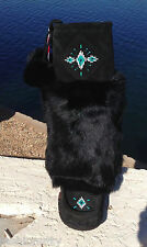 AUTHENTIC CANADIAN MUKLUKS BLACK SUEDE RABBIT FUR, RAVEN