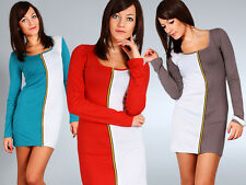 Sexy Stylish Cocktail Dress with Zipper 2-Colors Tunic Style Size 8-12 6504