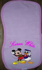 Embroidered & personalised girls pink burping cloth with character and name