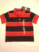 Tommy Hilfiger NWT Boys Red Blue and White Striped Short Sleeve Polo Shirt