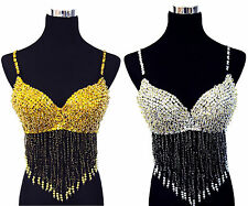Belly Dance New Hot Beaded Sequin Bra/ Top with Beaded Fringes -gold