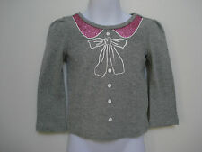 BABY GAP GIRLS GRAY Bow, Buttons and Glitter T shirt NWT