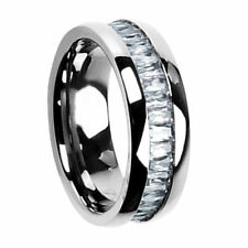 8mm Titanium Emerald Cut Cubic Zirconia Eternity Band Men's Wedding Ring
