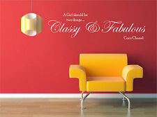 CLASSY AND FABULOUS COCO CHANEL WALL STICKER QUOTE