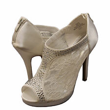 Womens Shoes - Blossom - Yael 09 - Embellished Peep Toe Lace Booties Ivory *New*