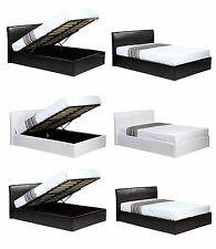 3ft 4ft 4ft6 5ft Ottoman Gas LIFT UP STORAGE BED BLACK BROWN WHITE + MATTRESS