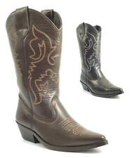 LADIES WOMENS BNIB REAL LEATHER COWBOY WESTERN STYLE ANKLE BOOTS SHOES BOOT SIZE