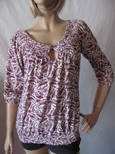 New LUCKY BRAND Womens Ivory Purple Casual Paisley Smocked Knit Top Blouse $59