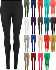 New Womens Plain Full Length Long Ankle Ladies Stretch Leggings Pants 8-14