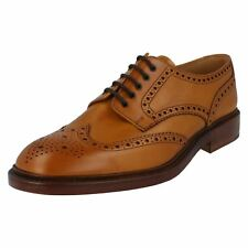 Mens Loake Tan burnished calf leather lace up brogue F fitting CHESTER 2