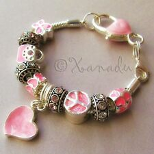 Pretty In Pink European Charm Bracelet With Pink Rhinestone And Heart Beads