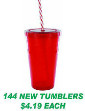 144 NEW CANDY CANE STRAW Tumblers Cups Glasses 16 OZ.  just $4.19/each