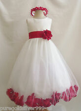 IVORY RED CHRISTMAS PAGEANT FLOWER GIRL DRESSES 6/12/18/24 MO 2 4 6 8 10 12 14