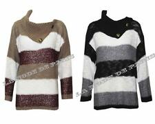 O99 NEW WOMENS CONTRAST STRIPE SEQUIN SHAWL NECK LADIES BUTTON JUMPER CARDIGAN.