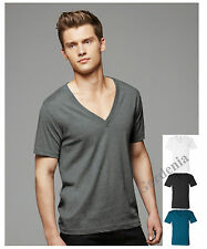 Bella Canvas 3105  Mens Unisex Deep V-Neck Cotton T-Shirt  Blank