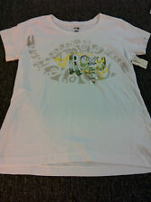 NEW WOMENS ROXY WIHTE T-SHIRT SIZZLE TEE SKATE SURF MOTO SCHOOL
