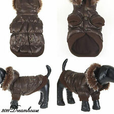 C09025 NEW Cute Teddy Autumn Winter Jacket Coat Dog Pet Clothes Warm Hood Brown